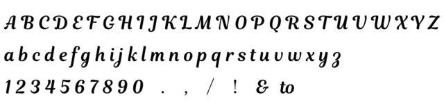 刻印の筆記体フォント