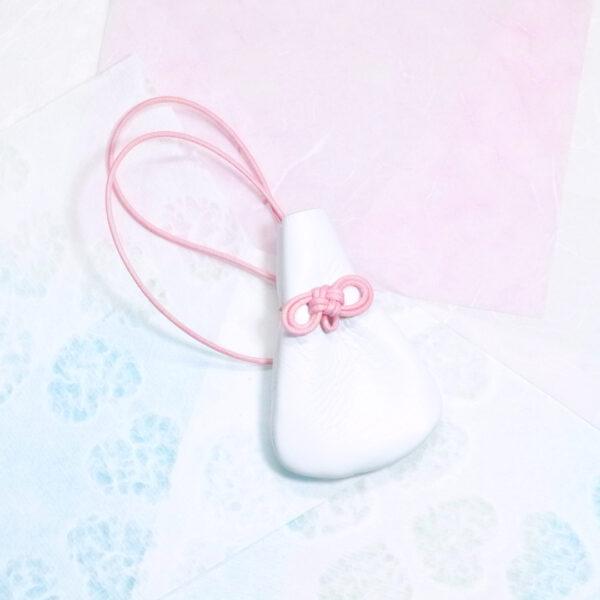 レザーのお守り巾着 ピンク